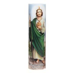 The Saints Collection 8.2'' x 2.2'' St. Jude Flameless LED Prayer Candle