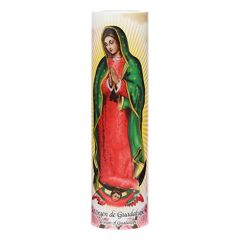 The Saints Collection 8.2'' x 2.2'' Virgin of Guadalupe Flameless LED Prayer Candle