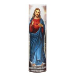 The Saints Collection 8.2'' x 2.2'' Jesus Flameless LED Prayer Candle