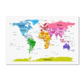 """World Map for Kids II"" Canvas Wall Art"
