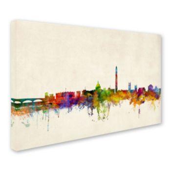 """Washington Water Color Skyline"" Canvas Wall Art"