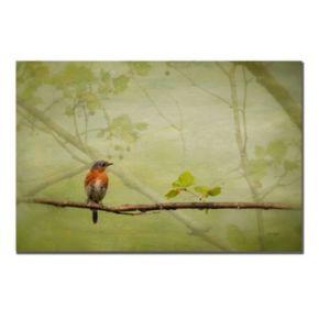 """Bluebird in Spring"" Canvas Wall Art"