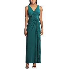 Women's Chaps Surplice Drape-Front Full-Length Dress