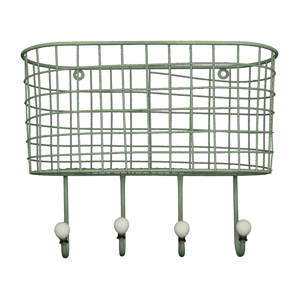 Basket 4 hook metal wall decor wire basket 4 hook metal wall decor amipublicfo Gallery