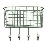 Wire Basket 4-Hook Metal Wall Decor