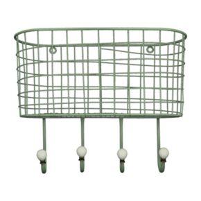 Wire Basket 4-Hook Metal Wall Decor