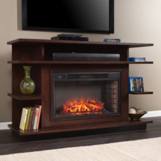 Southern Enterprises Viridian Media Console and Electric Fireplace