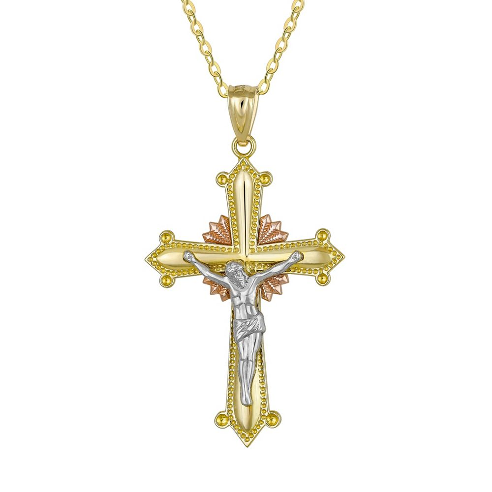 yellow gold new solid mens nugget charm cross grams crucifix pendant product