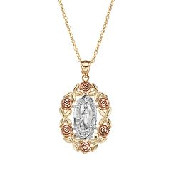 14k Gold Tri-Tone Our Lady of Guadalupe Pendant Necklace