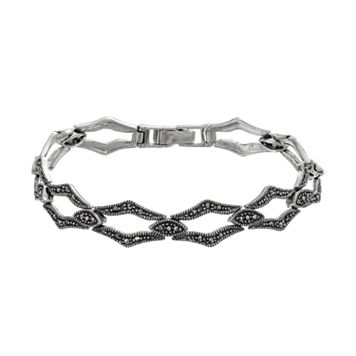 Tori Hill Marcasite Sterling Silver Marquise Bracelet