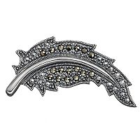 Tori Hill Marcasite Sterling Silver Feather Pin