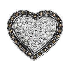 Tori Hill Crystal & Marcasite Sterling Silver Heart Pin