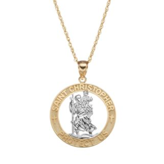 14k Gold Two Tone St. Christopher Pendant Necklace