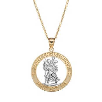 14k gold two tone st christopher pendant necklace aloadofball Gallery