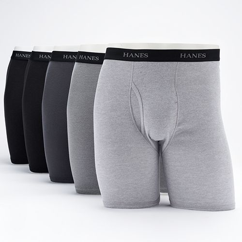 Men's Hanes Ultimate 5-pack Exposed Waistband Longer Leg Boxer Brief