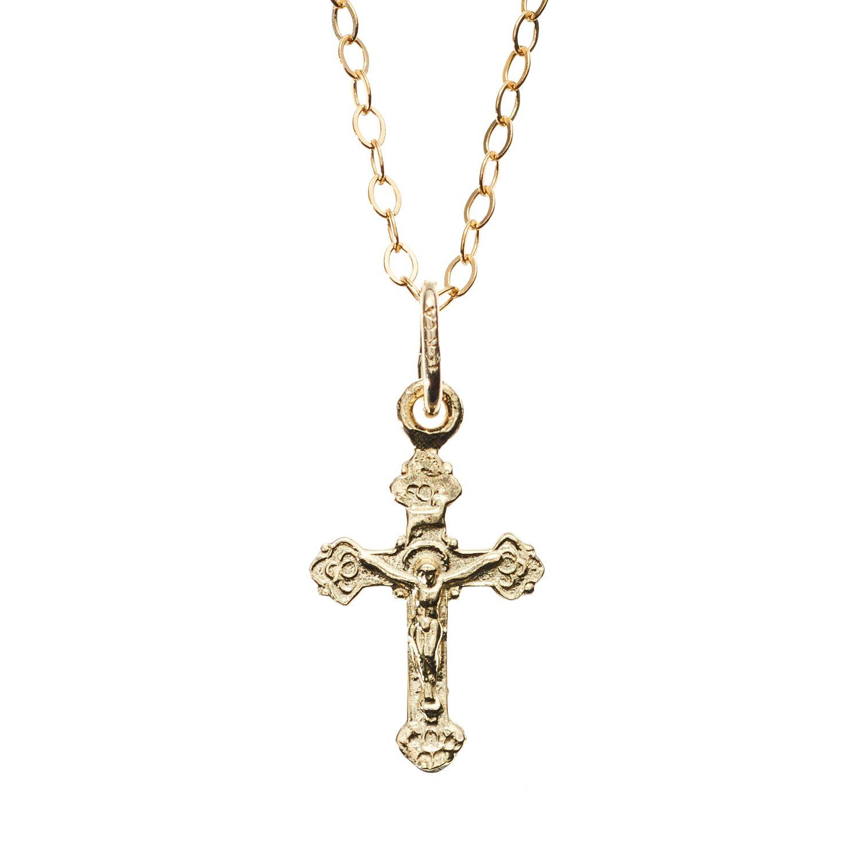 14k Gold Crucifix Pendant Necklace Kids