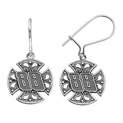 Insignia Collection NASCAR Dale Earnhardt Jr. Stainless Steel '88' Maltese Cross Drop Earrings