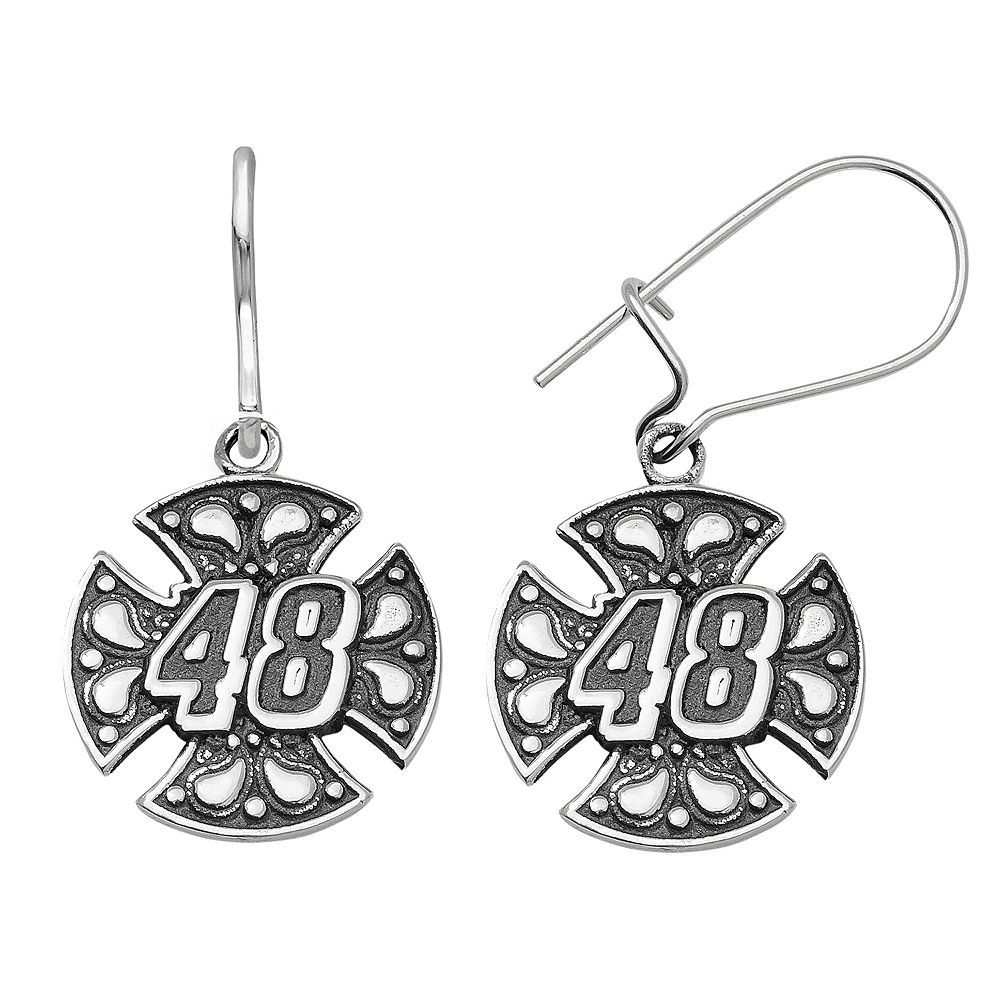 Insignia Collection Nascar Jimmie Johnson Stainless Steel 48 Maltese Cross Drop Earrings