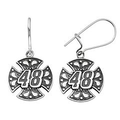 Insignia Collection NASCAR Jimmie Johnson Stainless Steel '48' Maltese Cross Drop Earrings