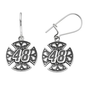 "Insignia Collection NASCAR Jimmie Johnson Stainless Steel ""48"" Maltese Cross Drop Earrings"