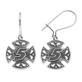 "Insignia Collection NASCAR Kasey Kahne Stainless Steel ""5"" Maltese Cross Drop Earrings"