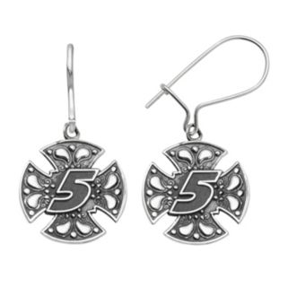 """Insignia Collection NASCAR Kasey Kahne Stainless Steel """"5"""" Maltese Cross Drop Earrings"""