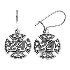 Insignia Collection NASCAR Jeff Gordon Stainless Steel '24' Maltese Cross Drop Earrings