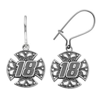"Insignia Collection NASCAR Kyle Busch Stainless Steel ""18"" Maltese Cross Drop Earrings"