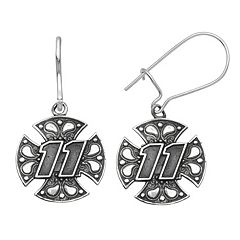 Insignia Collection NASCAR Denny Hamlin Stainless Steel '11' Maltese Cross Drop Earrings