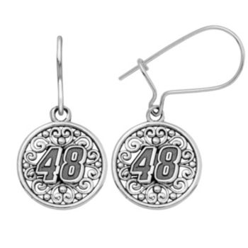 "Insignia Collection NASCAR Jimmie Johnson Stainless Steel ""48"" Drop Earrings"