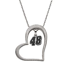 Insignia Collection NASCAR Jimmie Johnson '48' Stainless Steel Heart Pendant Necklace