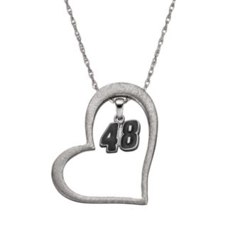 "Insignia Collection NASCAR Jimmie Johnson ""48"" Stainless Steel Heart Pendant Necklace"