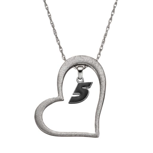 """Insignia Collection NASCAR Kasey Kahne """"5"""" Stainless Steel Heart Pendant Necklace"""