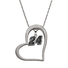 Insignia Collection NASCAR Jeff Gordon '24' Stainless Steel Heart Pendant Necklace