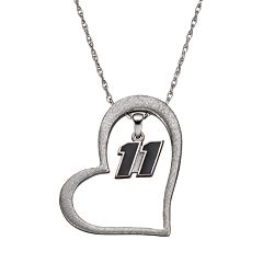 Insignia Collection NASCAR Denny Hamlin '11' Stainless Steel Heart Pendant Necklace