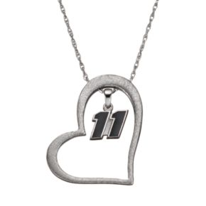 "Insignia Collection NASCAR Denny Hamlin ""11"" Stainless Steel Heart Pendant Necklace"
