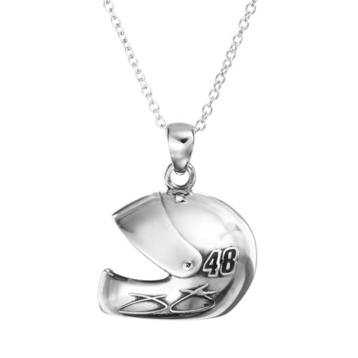 """Insignia Collection NASCAR Jimmie Johnson """"48"""" Stainless Steel Helmet Pendant Necklace"""