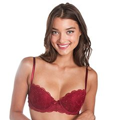 Juniors' Candie's® Bra: Lace Push-Up Balconette Bra