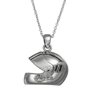 "Insignia Collection NASCAR Denny Hamlin ""11"" Stainless Steel Helmet Pendant Necklace"
