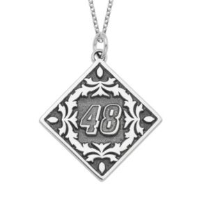 """Insignia Collection NASCAR Jimmie Johnson """"48"""" Stainless Steel Pendant Necklace"""