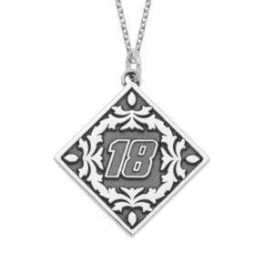 """Insignia Collection NASCAR Kyle Busch """"18"""" Stainless Steel Pendant Necklace"""