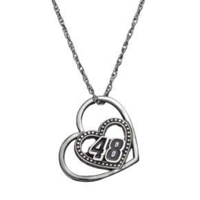 """Insignia Collection NASCAR Jimmie Johnson """"48"""" Stainless Steel Heart Pendant Necklace"""