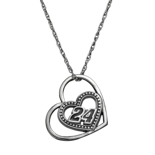 """Insignia Collection NASCAR Jeff Gordon """"24"""" Stainless Steel Heart Pendant Necklace"""
