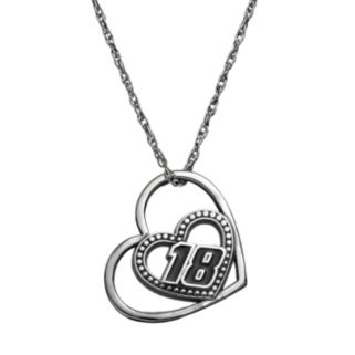 """Insignia Collection NASCAR Kyle Busch """"18"""" Stainless Steel Heart Pendant Necklace"""