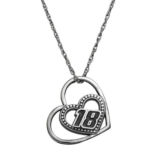 "Insignia Collection NASCAR Kyle Busch ""18"" Stainless Steel Heart Pendant Necklace"
