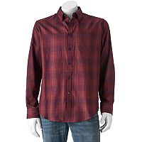 Van Heusen Shadow Plaid Casual Button-Down Shirt - Men