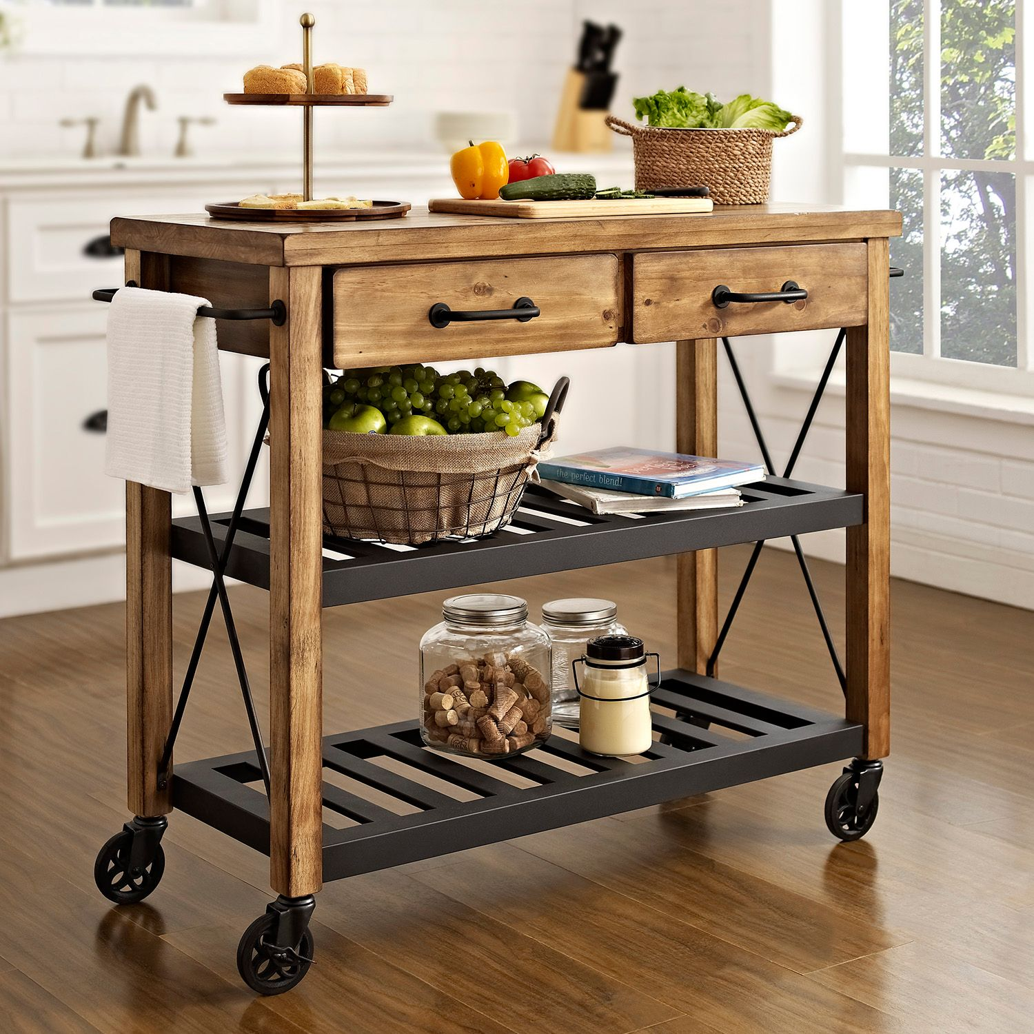 Superb Crosley Furniture Roots Rack Industrial Kitchen Cart