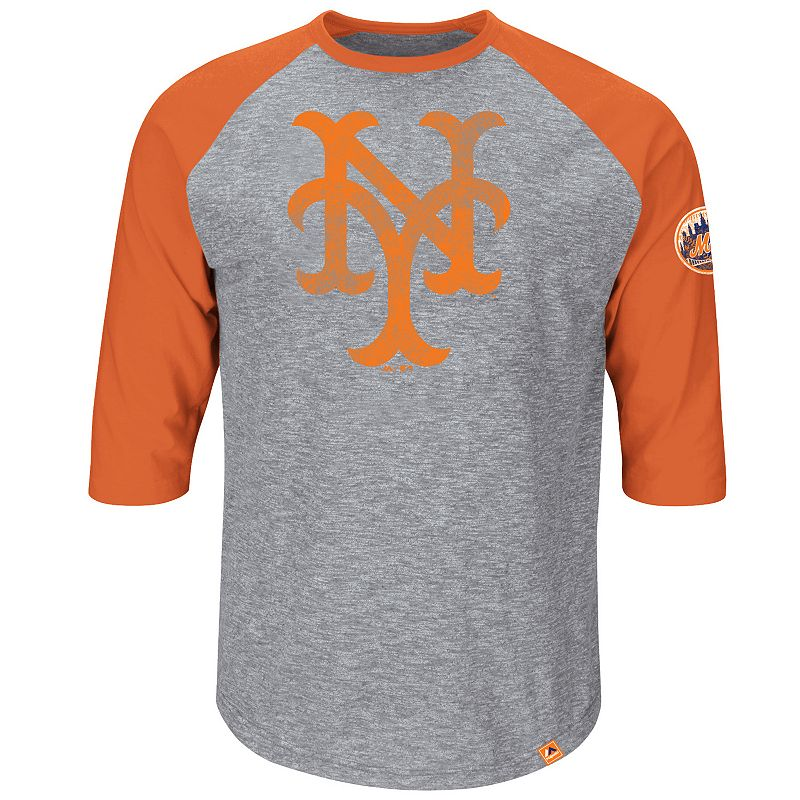 Majestic New York Mets Cooperstown Collection Home Stretch Raglan Tee - Men