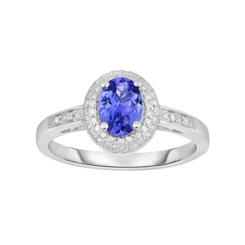 Tanzanite and Diamond Accent Sterling Silver Halo Ring