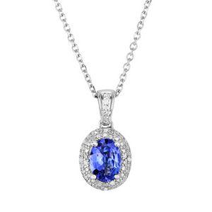 Tanzanite and Diamond Accent Sterling Silver Halo Pendant Necklace